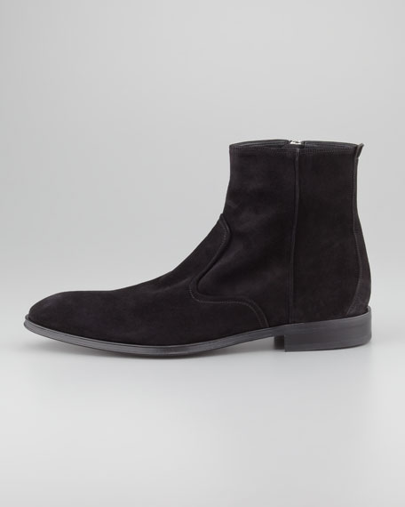 Alciso Suede Zip Boot, Black