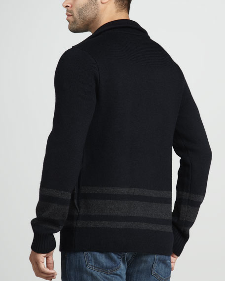 Striped Wool Pea Coat Sweater