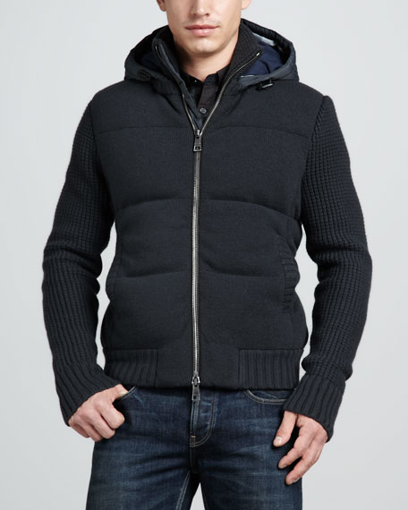 Hooded Knit Puffer Jacket