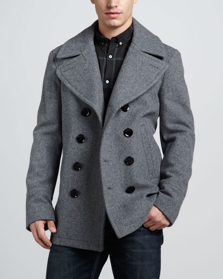Short Pea Coat, Pale Gray Melange