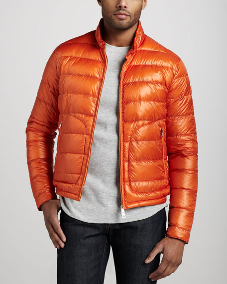 Acorus Puffer Moto Jacket, Orange