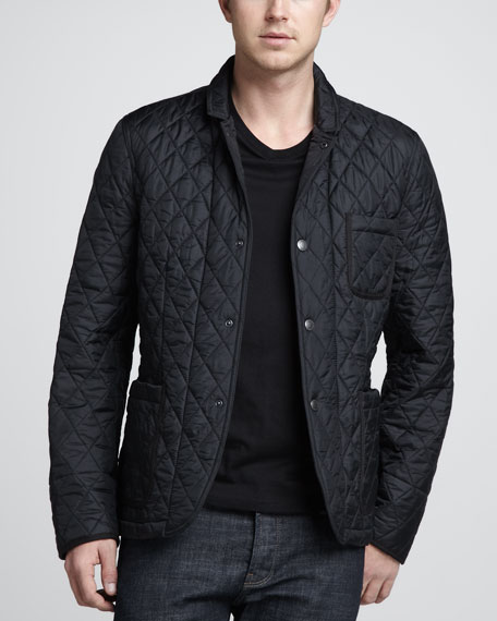 Quilted Snap Jacket, Black