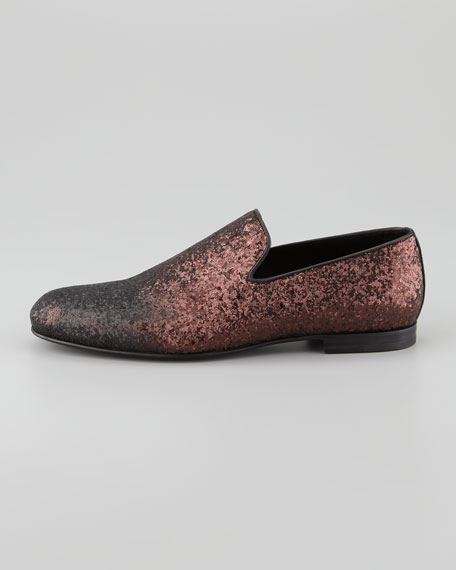 Sloane Men's Glitter Slipper, Coco/Burgundy