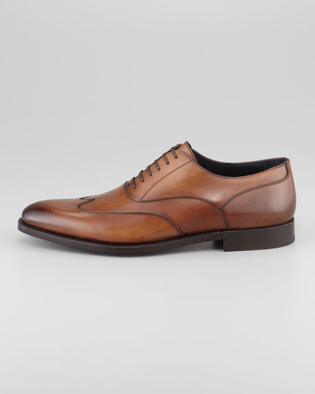 Wing-Tip Leather Oxford, Cognac