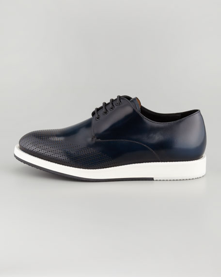 Runway Perforated Wing-Tip Leather Sneaker, Blue