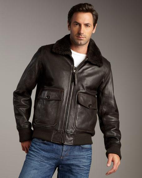 Shearling-Collar Bomber Jacket
