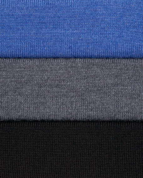 Leather-Trim Zip Sweater, Blue