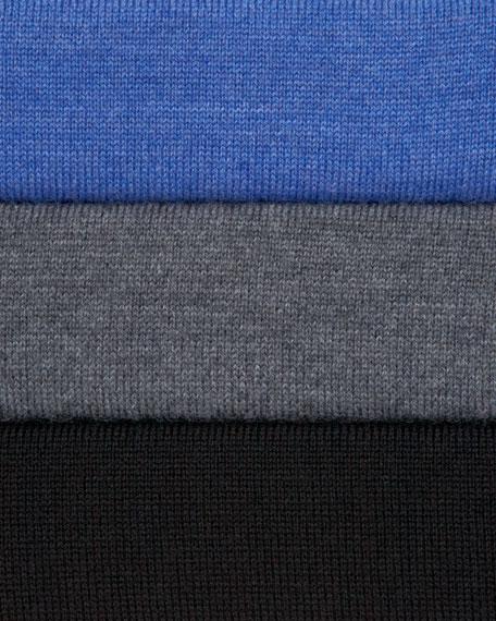 Leather-Trim Zip Sweater, Black