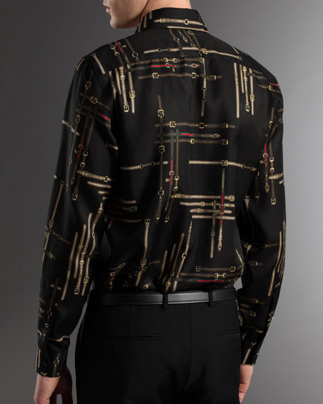 Icon Belt-Print Fitted Shirt
