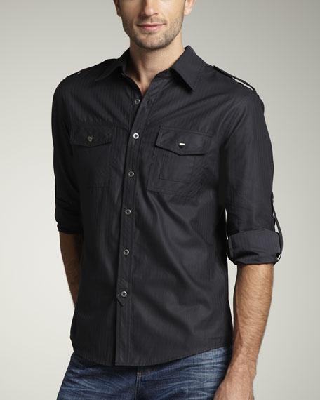 Pinstripe Military Shirt