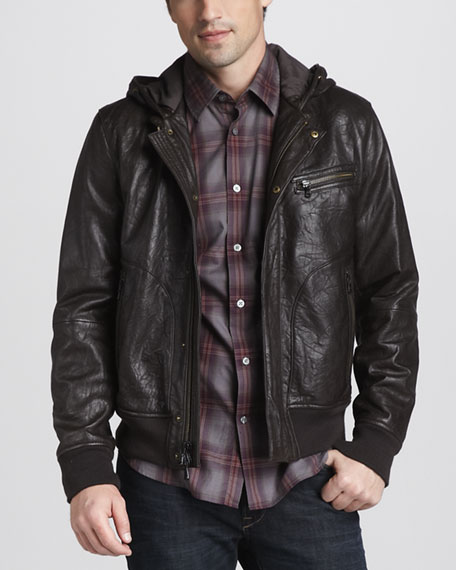 Hooded Leather Bomber Jacket