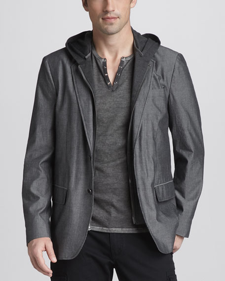 Hooded Two-Button Jacket