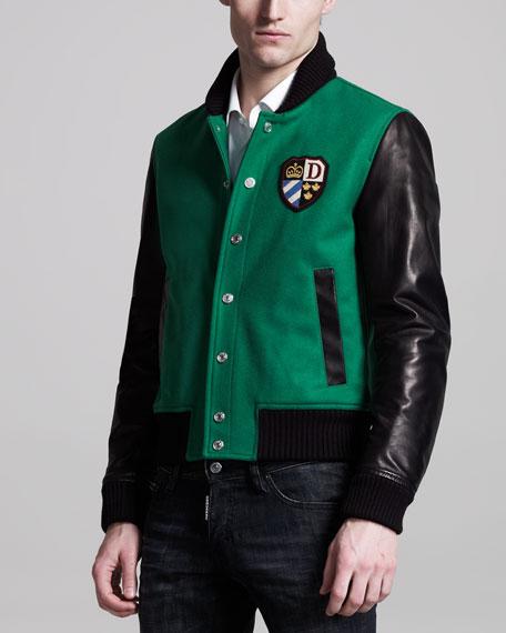 Leather-Sleeve Varsity Jacket