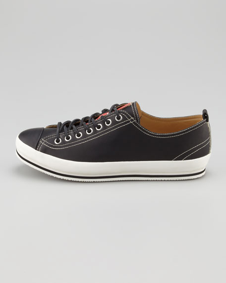 Leather Cap-Toe Leather Sneaker, Black