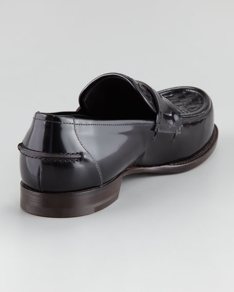 Woven-Vamp Leather Loafer