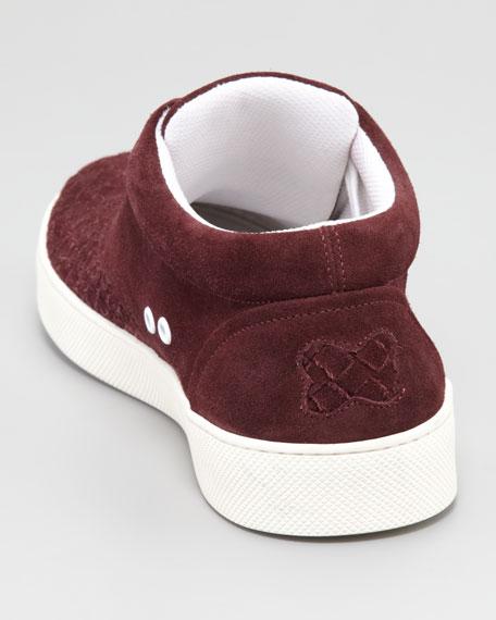 Woven Suede Sneaker, Maroon