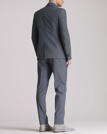 Notched-Collar Two-Button Suit, Blue