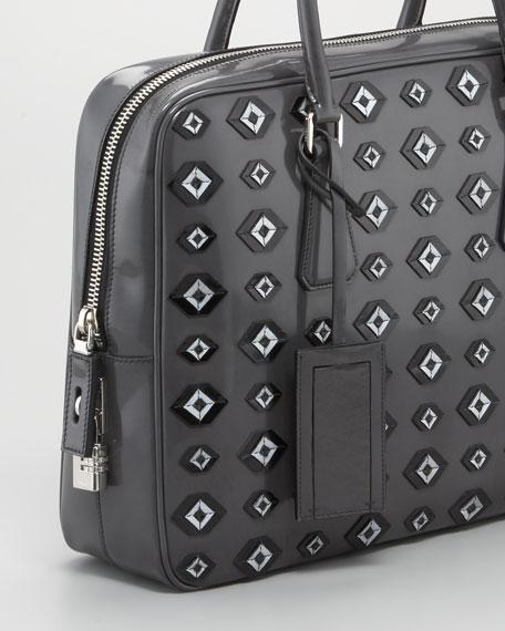 Spazzolato Patch Briefcase