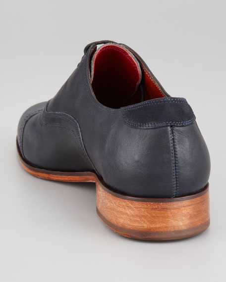 Washed Leather Cap-Toe Oxford, Indigo