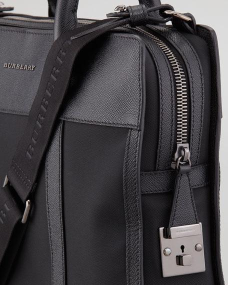 Leather-Trim Nylon Briefcase