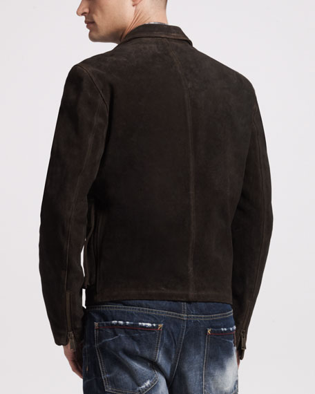 Oiled Suede Bomber Jacket