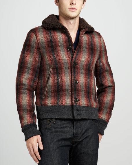 Shearling-Collar Plaid Bomber Jacket