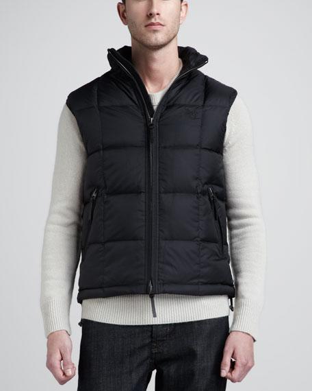 Hooded Puffer Vest, Black