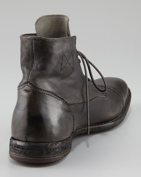Distressed Leather Cap-Toe Boot