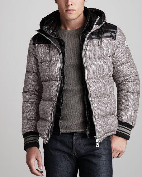 moncler hooded bomber jacket