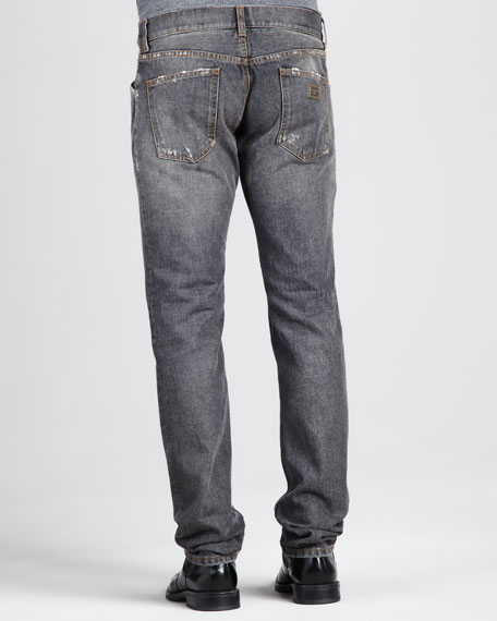 Distressed Selvedge Jeans, Gray