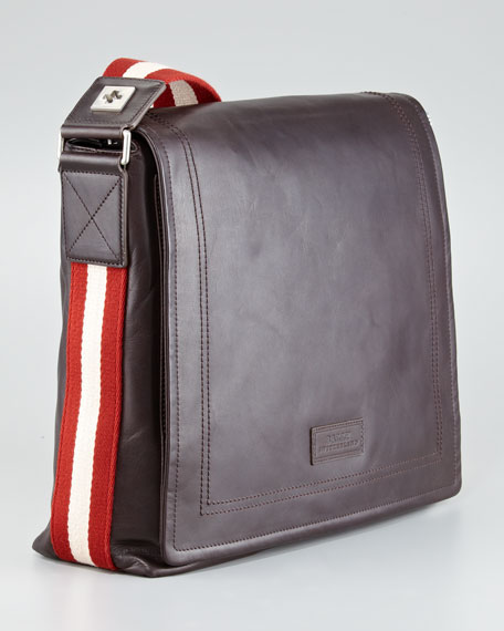 Web-Strap Leather Messenger Bag