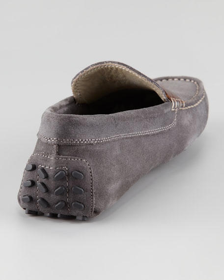 Crocodile-Embossed Strap Suede Driver