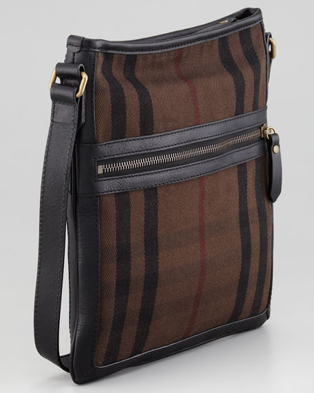 Small Check Messenger Bag, Brown