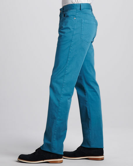 Stretch-Twill Five-Pocket Pants, Petrol