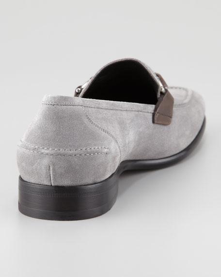 Twist Suede Braid Bit Loafer, Gray