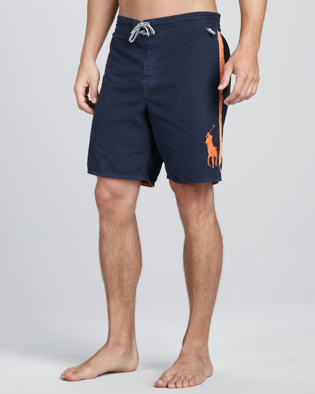 Sanibel Swim Trunks, Navy/Orange