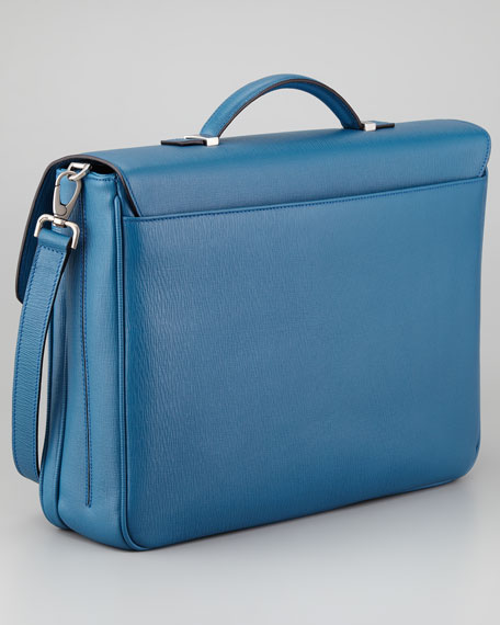 Revival Two-Gusset Briefcase, Blue