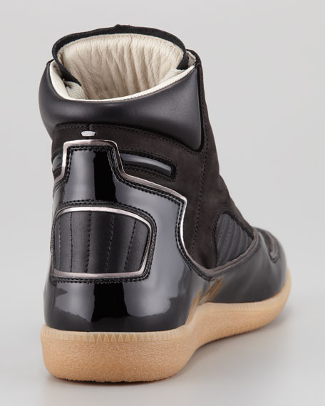 Multi-Leather Hi-Top Sneaker, Black