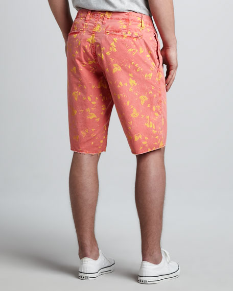 St. Bart's Leaf-Print Shorts, Watermelon