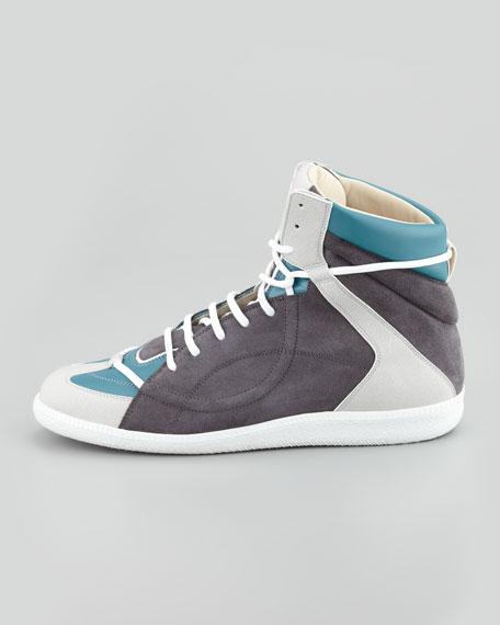 Mixed-Media Hi-Top Sneaker, Black/Blue