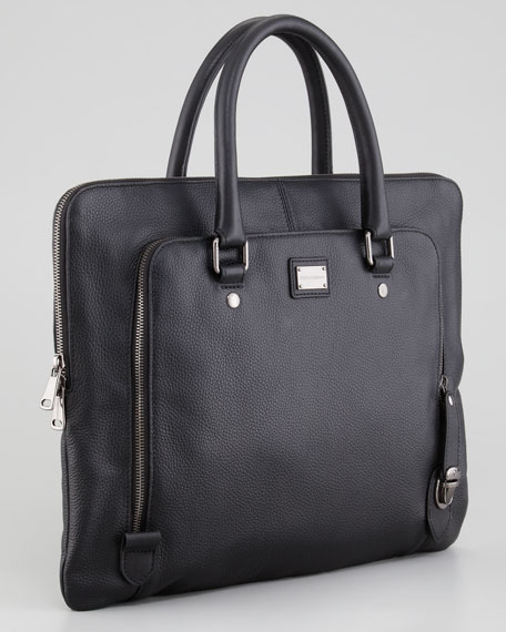 Leather Zip Portfolio Bag