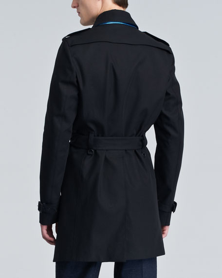 Leather-Trim Cotton Trenchcoat