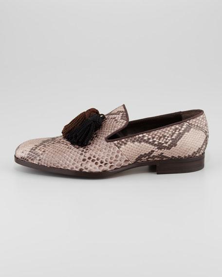 Foxley Python Tassel Loafer, Taupe/Black