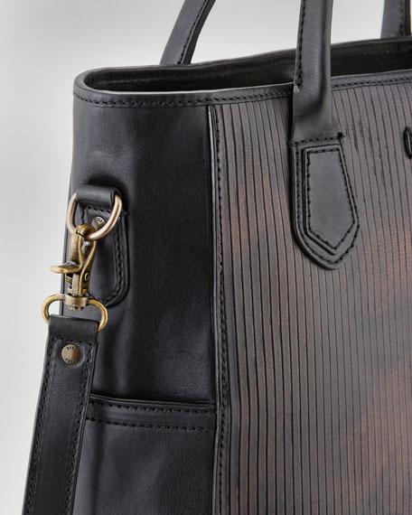James Cut Leather Tote Bag, Dark Brown