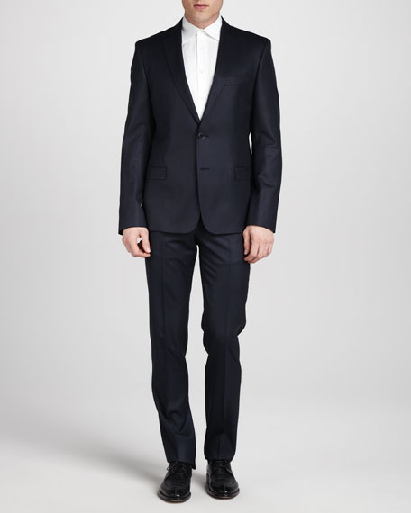 Two-Button Wool Suit, Short, Navy