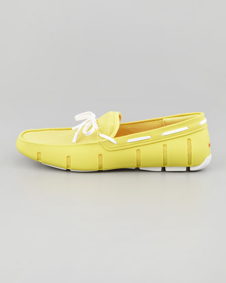 Lace-Up Mesh/Rubber Loafer, Yellow White