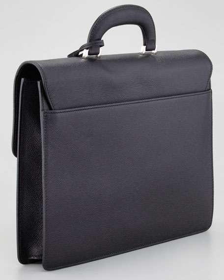 Sapeis Leather Briefcase, Black