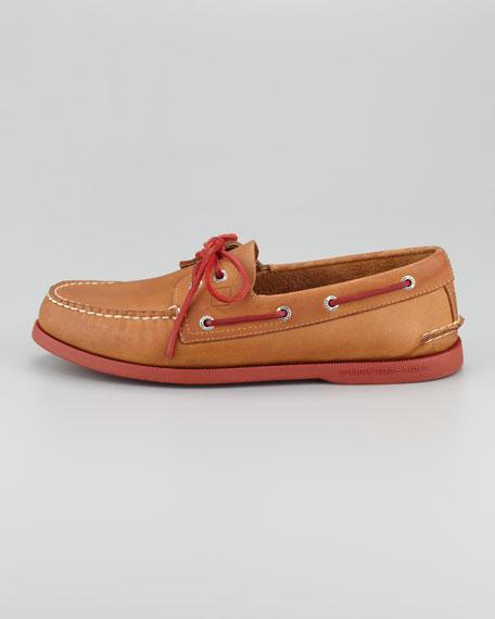 Authentic Original Boat Shoe, Tan/Red