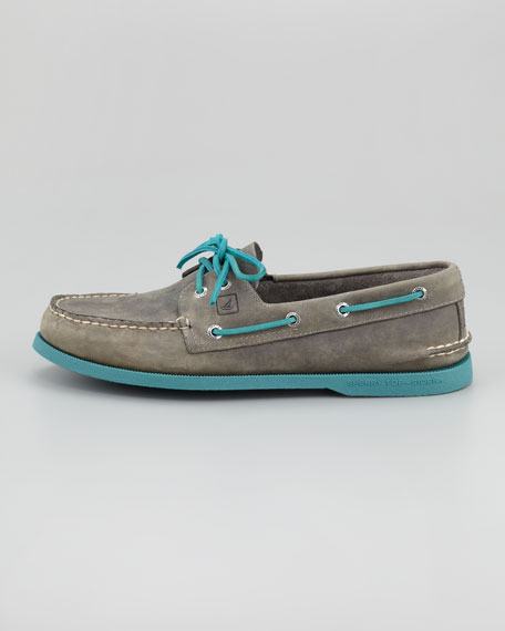 Authentic Original Boat Shoe, Gray/Turquoise