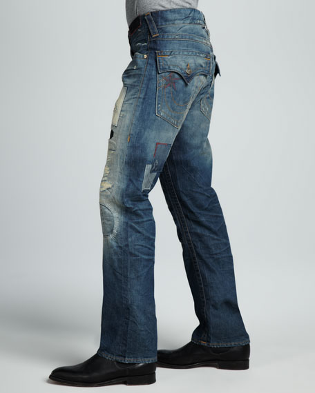 Ricky Straight-Leg Patched Jeans, Treadway